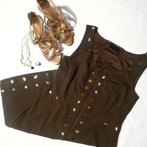Cynthia Rowley Army Green/Gold Sheath Dress Medium